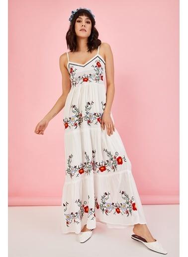 ESQ Önü Nakış Askılı Elbise Beyaz